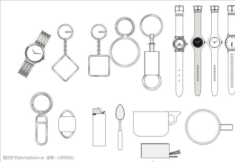 关键词:办公用品 企业形像系统 vi系统 线描图 表 手表 钥匙扣 勺子图片